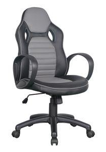 SixBros. Bürostuhl Racing Optik Sportsitz Gaming Stuhl, ergonomischer Schreibtischstuhl stufenlos höhenverstellbar, Drehstuhl für Gamer, Kunstleder ergonomisch schwarz/grau 0936M/2255