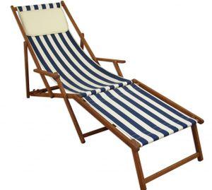 Liegestuhl Gartenliege blau-weiß Fußablage Kissen Sonnenliege klappbar Deckchair Buche 10-317FKH