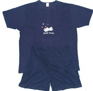 Damen Shorty Sommer Pyjama, Gr. 36 (ca.S), dunkelblau bestickt, Jersey, 100% Baumwolle, Schlafanzug