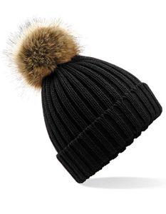Herrenmütze Fur Pom  Chunky Beanie / Luxus-Kunstfell-Bommel - Farbe: Black - Größe: One Size