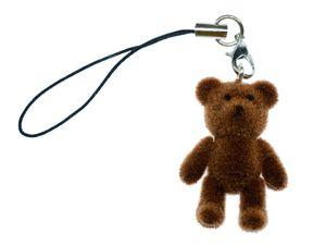 Teddy Teddybär Flock Handyanhänger Miniblings Handyschmuck Bärchen dunkelbraun
