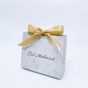 Eid Mubarak Geschenkboxen, 20 Stück, Farbe des Bandes: Gold, Ramadan Dekorationen, Süßigkeitenbox-Set, Ramadan Geschenkbox, Eid Mubarak, Papier-Geschenktüte, Muslimische Islamische Partyzub