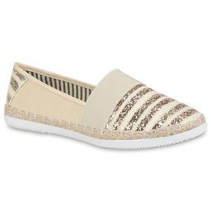 Mytrendshoe Espadrilles Damen Bast Slipper Glitzer Flats Strand Schuhe 815013, Farbe: Creme, Größe: 39