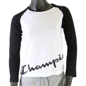Champion Kinder Langarm Shirt Kinder Beige/Schwarz (403667 WW006) Größe: M (137-147)