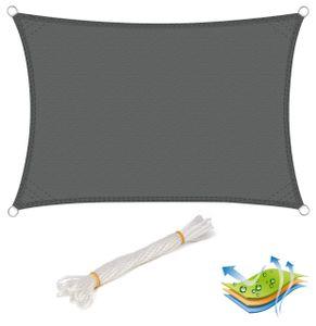 WOLTU Sonnensegel Rechteck 3x4m Grau wasserabweisend Sonnenschutz Polyester Windschutz mit UV Schutz für Garten Terrasse Camping
