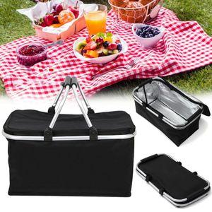 Faltbar Einkaufskorb Kühltasche Kühlkorb Picknick Korb Isoliertasche Camping Picknickkoffer 30L Kapazität