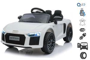 Elektroauto Audi R8 Small, Weiss, Originallizenz, Batteriebetrieben, Türen öffnend, 2x 25 W Motor, 12 V Batterie, 2,4 GHz Fernbedienung, weiche EVA-Räder, Federung, Sanftanlauf