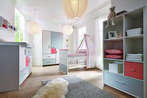 Schardt Sparset Candy Red bestehend aus Kombi-Kinderbett (inklusive Umbauseiten) und Wickelkommode mit Wickelaufsatz