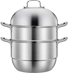 Dampfgarer Edelstahl Dampfkocher 30cm Dampfkochtopf 3 Etagen Dampf Kochtopf mit Glasdeckel Kartoffeldämpfer Kochgeschirr für Küche Induktionsherd