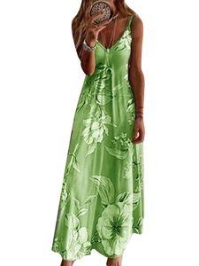 (Grün,L)Plus Size Damen Boho Floral Riemchenkleid Sommer Beach Party Maxikleid Kaftan Sling-Kleid
