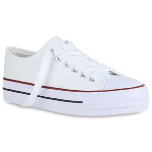 Mytrendshoe Damen Plateau Sneaker Canvas Turnschuhe Schnürer Plateauschuhe 825786, Farbe: Weiß, Größe: 38
