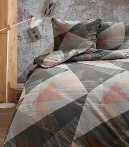 Bettwäsche Thermofleece 200x200 cm + 80x80 cm grau rosa Geometrisches Muster Kuschel mit Reißverschluss, 3-tlg