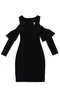 French Connection Damen Cold-Shoulder Kleid V-Ausschnitt Größe 34 6 Schwarz #CC12A