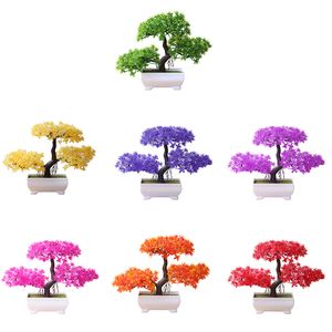 Begrüßung Kiefer Bonsai künstliche Topfpflanze Ornament Home Decor-(Grün)