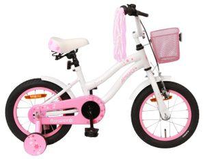 Amigo Flower - Kinderfahrrad für Mädchen - Mädchenfahrrad 14 zoll - Kinderfahrader ab 3-4 Jahre - Weiß
