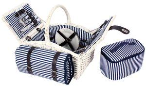 Weiden - Picknickkorb für bis zu 4 Personen mit Kühltasche und Decke - Komplettsett