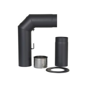 Winkelrohr-Set 150mm schwarz m.Verläng.