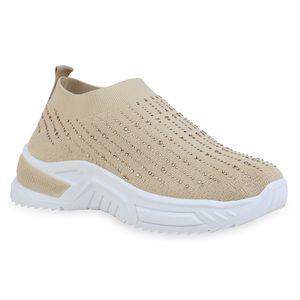 Giralin Damen Sneaker Slip Ons Blockabsatz Strass Plateau Vorne Schuhe 836684, Farbe: Beige, Größe: 39