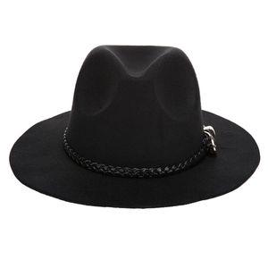 Männer Frauen Breitkrempe Hartfilz Hut Fedora Hut Gangster Cap für Frühling Winter Farbe Schwarz