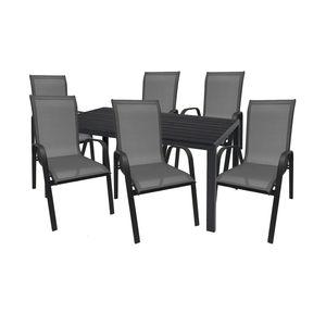 Gartengarnitur Sitzgarnitur 7-teilig 160x90cm Polywood Anthrazit/Schwarz 1x Tisch + 6x Stapelstuhl