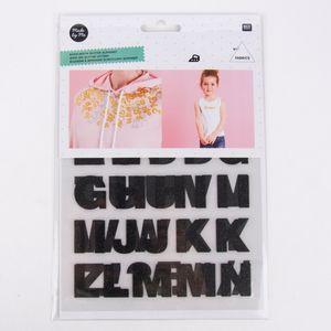 Rico Design Bügelmotivset Alphabet Buchstaben 2 Bögen schwarz glitzernd