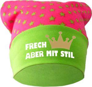 Baby KOPFTUCH Mütze (Farbe pink-lime) (Gr. 2 (68-98) Frech aber mit Stil