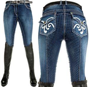HKM Reithose -Pasadena-Summer Denim Silikon-Vollbesatz, Farbe:6100 jeansblau, Größe:40