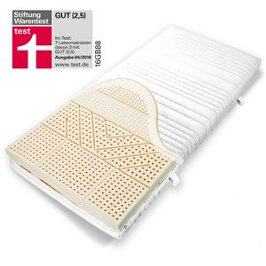 Ravensberger NATUR LATEX Matratze 7-Zonen Latexmatratze 85% Naturlatex Härtegrad H2 oder H3 mit Baumwoll Bezug, abnehmnbar, waschbar