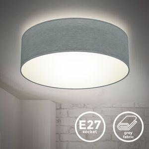 Deckenlampe Stoffdeckenleuchte Deckenleuchte Bürolampe Textilschirm E27 1-Flammig Ø30cm Grau ohne Leuchtmittel B.K.Licht