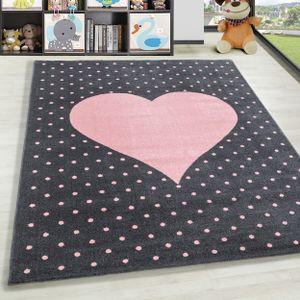 Kurzflor Kinderteppich Herz Design Soft Wohnteppich Kinderzimmer Farbe Grau Pink, Farbe:Pink, Grösse:160x230 cm
