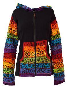 Patchwork Stonewash Regenbogen Jacke mit Zipfelkapuze, Goa Jacke - Modell 2, Damen, Schwarz, Baumwolle, Größe: S/M