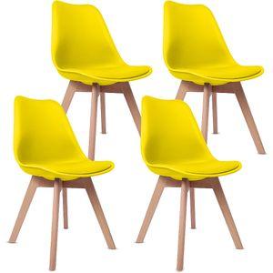 AKALNNY Set mit 4 Küchen-Esszimmerstühlen - Gelb - Skagen im skandinavischen Stil - HOHE QUALITÄT