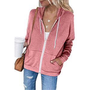 Damen Hoodie Full Zip Langarm Langarm Sweatshirts Taschen Jackenmantel SFW200920326 Größe:XXL,Farbe:Rosa