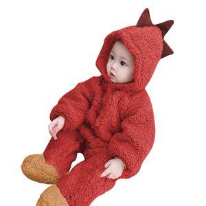 Tierbaby mit Kapuze Strampler einteilige Kleinkinder Herbst Winter  Pyjamas Unisex Overall Kostueme (Dinosaurier)60