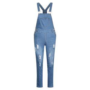 Damen Skinny Jeanshose Ripped Bib Jeans Jeanshosen, Blau, 36