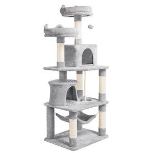 Yaheetech XXL Kratzbäume Kratzbaum Kletterbaum für Katzen mit 2 Katzenhäusern 2 Plattformen Hellgrau