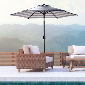 Outsunny Sonnenschirm Gartenschirm Terrassenschirm Gestell Stahl im Freien Blauer Streifen Ø227 x 225 cm