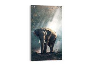 "Leinwandbild - 45x80 cm - ""Ein gemütlicher Spaziergang""- Wandbilder - Elefant Wald Dschungel - Arttor - PA45x80-3972"
