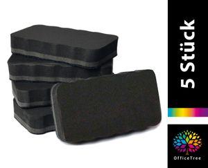 OfficeTree 5er-Set Whiteboard-Schwamm - 110 x 52mm - schwarz - magnetisch