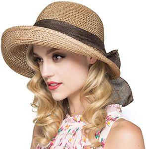 Stroh Sommerhut mit Sonnen Shade für Damen schlaffer Strand Sonnenhut Breite Krempe Sommer Strand Hüte für Frauen und Mädchen