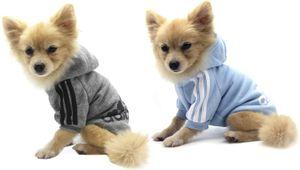 Hundemantel Hund Hoodies Kleidung, Pet Puppy Katze Niedlicher Baumwoll Warm Hoodies Coat Pullover, Grau+ Blau, XS