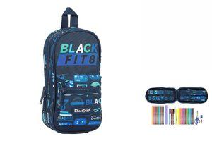 Rucksack mit Federtaschen BlackFit8 Retro Marineblau (33 Stücke)