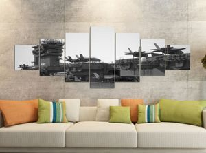 Leinwandbilder 7 Tlg 280x100cm schwarz Flugzeug Flugzeugträger Krieg Schiff Leinwand Bild Teile teilig Kunstdruck Druck Wandbild mehrteilig 9YB1888, Leinwandbild 7 Tlg:ca. 280cmx100cm
