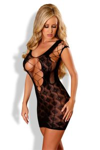 Provocative schwarzes Netz-Kleid PR4564