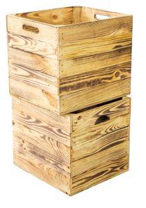3er set Holzkiste geflammt passend für Kallax und Expeditregale Kallxkiste Weinkiste Regalkiste Aufbewahrungskisen