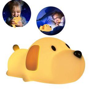 Hund Nachtlicht, Kinder Baby Nachtlampe mit Touch Schalter Tragbare Silikon Nachtlichter, Kinder Nettes Silikon Hund Nachtlicht Kinderzimmer Kleinkind Geburtstag Geschenk für Babyzimmer
