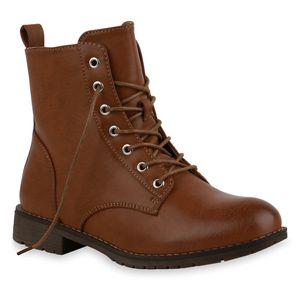 Mytrendshoe Damen Stiefeletten Schnürstiefeletten Leicht Gefütterte Schuhe 835467, Farbe: Hellbraun, Größe: 38