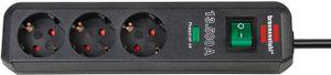 Brennenstuhl Eco-Line 13.500A Überspannungsschutz-Steckdosenleiste 3-fach anthrazit 1,5m H05VV-F 3G1,5 Polybeutel, 1158820315