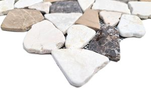 Handmuster Mosaik Fliese Marmor Naturstein beige braun Bruch Ciot CastanaoCream MOS44-30-190_m