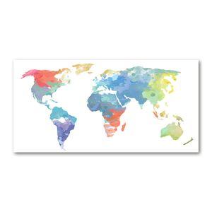 Tulup® Leinwandbild - 120x60 cm - Wandkunst - Drucke auf Leinwand - Leinwanddruck - Landkarten & Flaggen - Mehrfarbig - Weltkarte